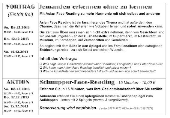Vorträge & Schnupper-Face_Reading - Programm für Dezember 2013